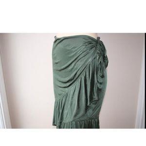 YvesSaintLaurent silk ruffle green skirt,sz.S,mint